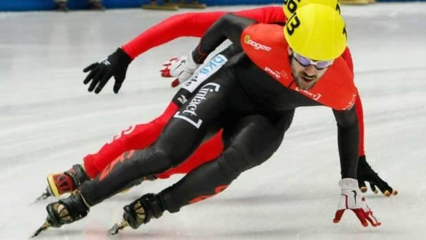 Canada's Charles Hamelin, shown here competing Saturday in the men's 500-metre race, won gold on Sunday in the men's 1,000m.