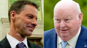 Mike Duffy, right, has been charged with one count each of bribery of a judicial officer, frauds on the government and breach of trust in relation to a $90,000 payment he received from former PMO chief of staff Nigel Wright. Duffy faces 28 other charges.