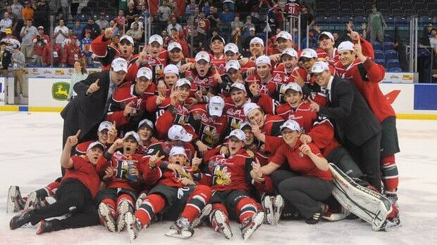 The Halifax Mooseheads pose for a team photo after winning the 2013 Memorial Cup in Saskatoon.