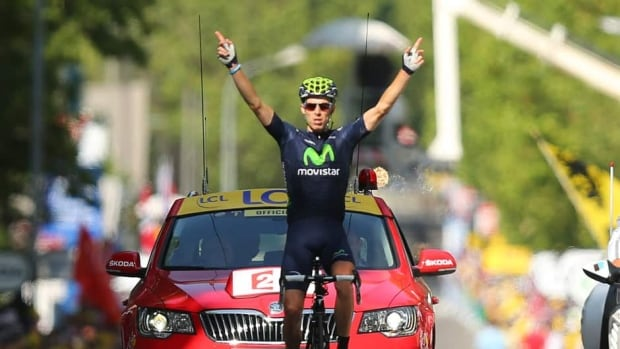 Rui Costa celebrates winning stage 16 of the 2013 Tour de France on July 16, 2013 in Gap, France.