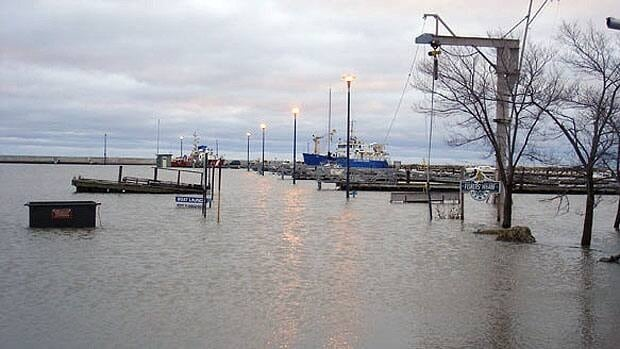 The docks were all underwater at Gimli harbour in October 2010.