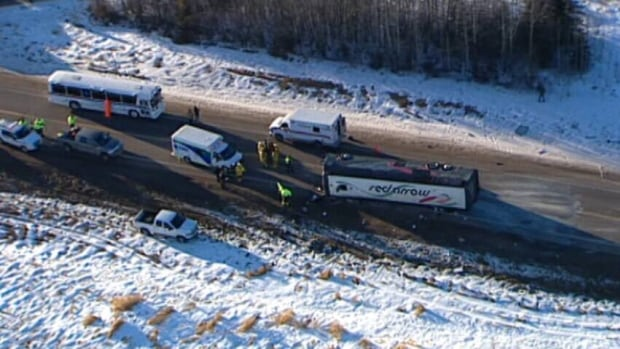 Thirty-one passengers were hurt when the Red Arrow bus they were riding on overturned about 65 kilometres northeast of Edmonton in 2012.