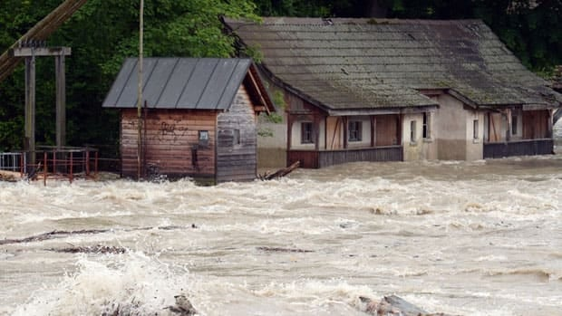 The river Rhine floods buildings near Rheinfelden, southern Germany, Sunday, June 2,2013. Heavy rainfalls cause flooding along rivers and lakes in Germany, Austria, Switzerland and the Czech Republic.