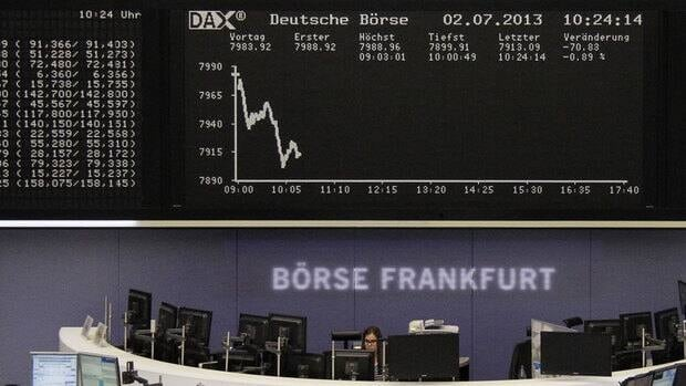 While there were signs that unemployment figures were improving in some European countries, a report Tuesday suggested manufacturing activity remains weak, and that pushed stock markets in Frankfurt, Paris and London down.
