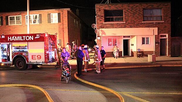 Firefighters were called to a fire at a low-rise building on Main Street East on Tuesday night.