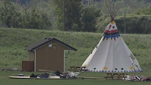 A severe thunderstorm toppled most of the 30 teepees at a summer camp in northeast Edmonton Tuesday night, sending 21 people to hospital.