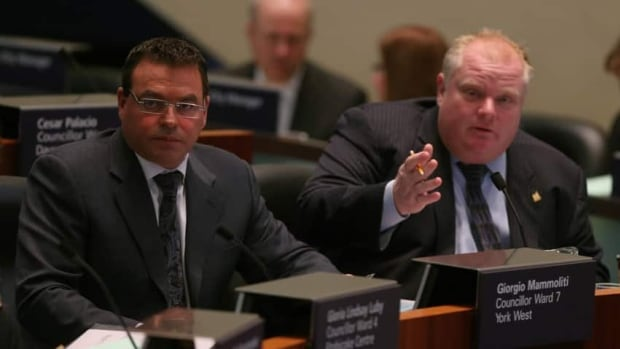 Toronto Coun. Giorgio Mammoliti, seen at left with Mayor Rob Ford, clashed with some of his other peers at a testy 2009 council meeting that decided the fate of several lucrative billboards overlooking Highway 401.