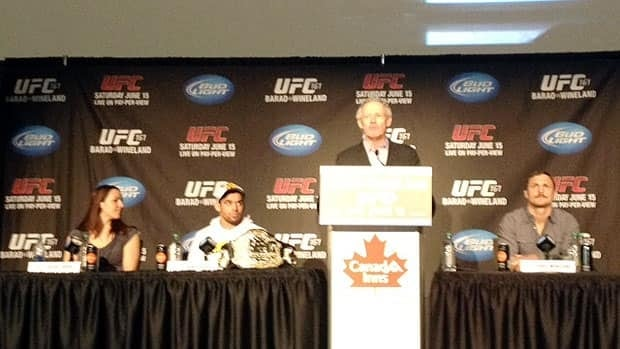 An upcoming UFC fight is promoted in Winnipeg on Tuesday with (from left) Alexis Davis, Renan Barao, Tom Wright and Eddie Wineland.