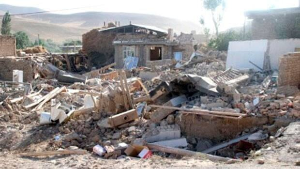 Damaged houses are seen in the earthquake-stricken city of Bushehr in southern Iran.