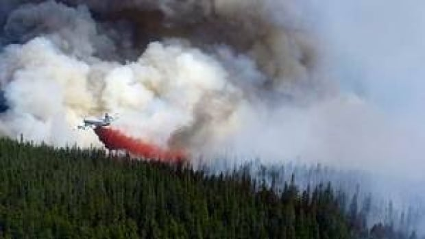 An air tanker drops a load of fire retardant on the Tisigar Lake fire in northeastern B.C. earlier this year.
