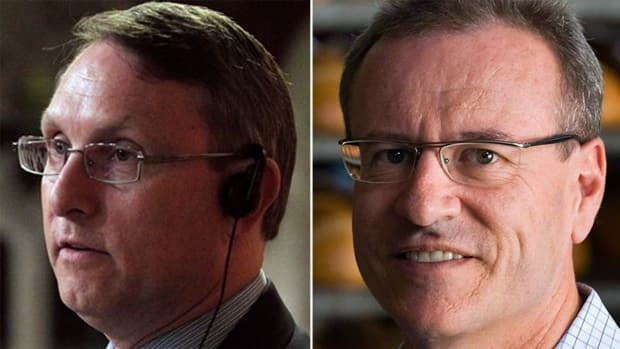 Conservative Ted Opitz, left won the May 2011 election in Etobicoke Centre by 26 votes, but defeated Liberal Borys Wrzesnewskyj, right, challenged the results over voting irregularities.
