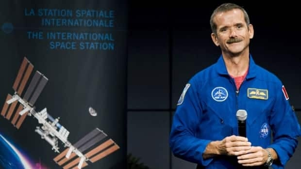 Astronaut Chris Hadfield during a 2010 press conference announcing that he will take command of the International Space Station in March 2013.