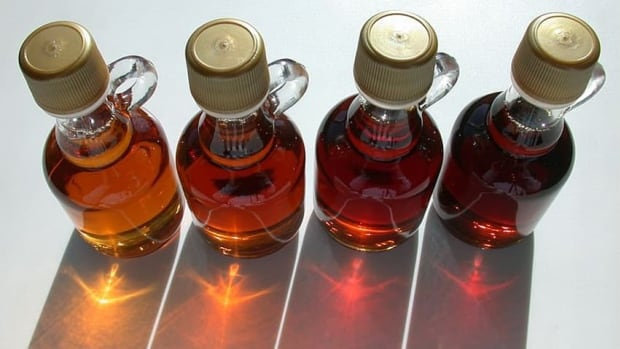 Grades of maple syrup, from light to dark.