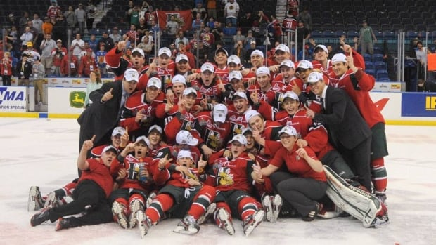 The Halifax Mooseheads pose for a team photo after winning the 2013 Memorial Cup in Saskatoon, Sask., on Sunday.