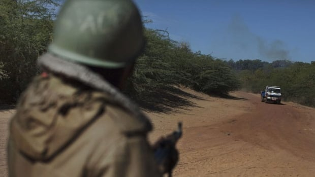 "A Malian soldier points his gun at an oncoming vehicle, prompting the driver to slow down, at a checkpoint in Diabaly, Mali, on Jan. 21, 2013. A France-based human rights group has accused Malian forces of ""summary executions"" and other abuses."