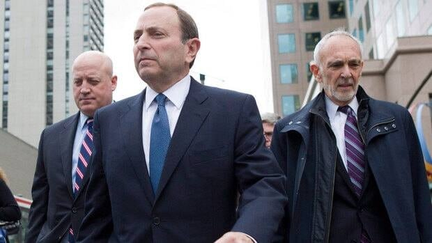 Commissioner Gary Bettman, front, and his team have yet to offer the players an honourable way out.