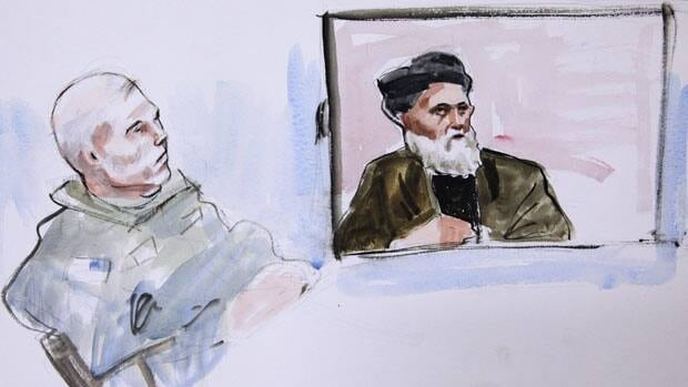In this courtroom sketch, U.S. Army Staff Sgt. Robert Bales, left, watches Haji Naim testify from Afghanistan on a video monitor, in the early morning hours of Saturday, Nov. 10.