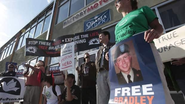 More than two dozen people protest in California in September, calling for the release of U.S. army Pte. 1st Class Bradley Manning.
