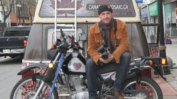Tim Van Horn, Maple the van, and his bike.