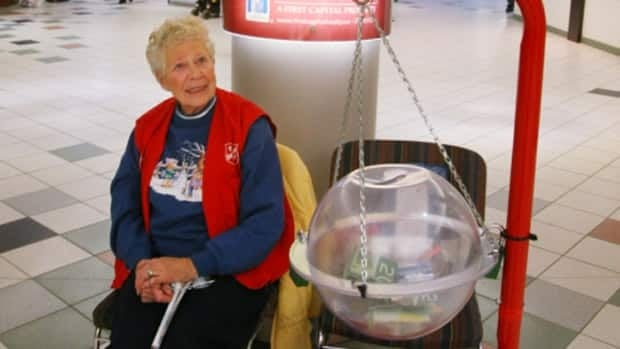 Agnes Morgan is shown volunteering with the Salvation Kettle Drive at Westmount Shopping Centre in December 2010.