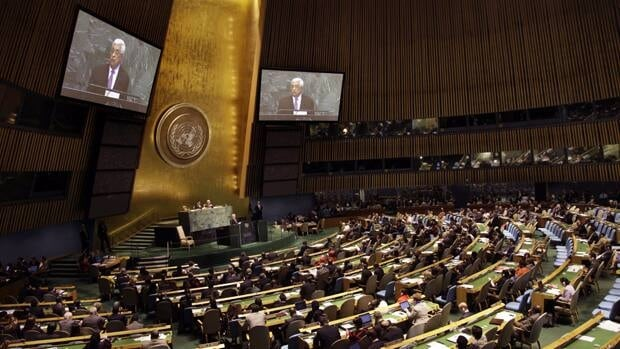 Palestinian President Mahmoud Abbas speaks during the 67th session of the United Nations General Assembly at UN headquarters on Sept. 27. Palestinian leaders plan to shake up the 19-year-old peace process and proceed with a United Nations statehood bid.