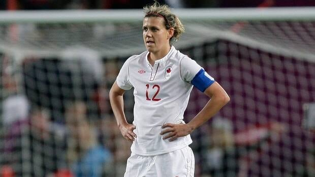 Canada's Christine Sinclair reacts after her team's 4-3 loss to the United States in the semifinal women's soccer match at the 2012 London Summer Olympics.