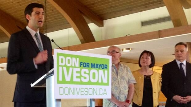 Coun. Don Iveson announces his candidacy for mayor at a news conference Tuesday at the Edmonton Petroleum Club.