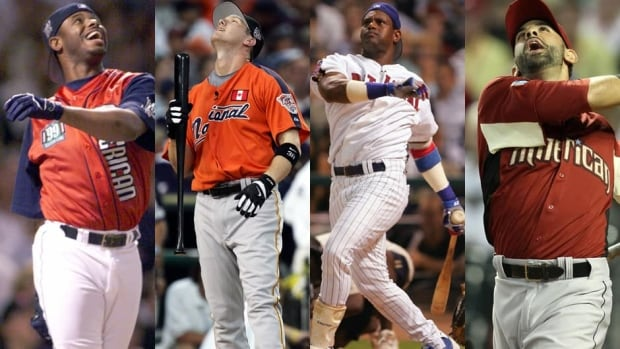 From left to right, Ken Griffey Jr., Jason Bay, Sammy Sosa, and Jose Bautista have all had varying degrees of success in the Home Run Derby.