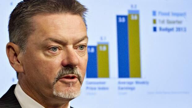 Alberta Finance Minister Doug Horner delivers a fiscal update in Edmonton on Thursday.