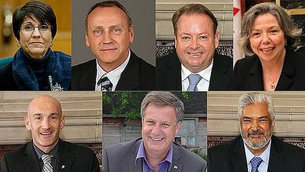 Seven Conservative MPs' 2011 election victories are being challenged in court by voters backed by the Council of Canadians. The MPs, clockwise from top-left: Kelly Block, John Duncan, Jay Aspin, Joyce Bateman, Joe Daniel, Lawrence Toet and Ryan Leef.