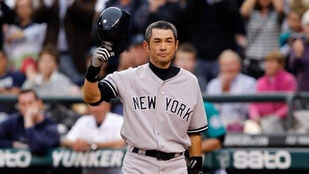 Ichiro Suzuki acknowledges the ovation from the Seattle fans prior to his first at bat for the Yankees.