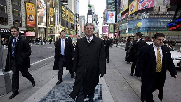 Prime Minister Stephen Harper, pictured in New York City during a 2009 visit, will be in New York Thursday for a question-and-answer session with a think tank and a business roundtable.