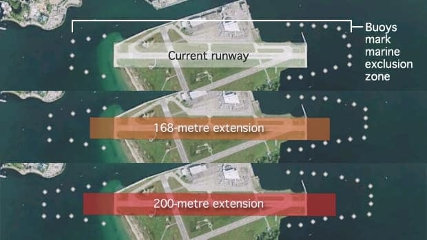 An extension of the Billy Bishop runway goes into Lake Ontario