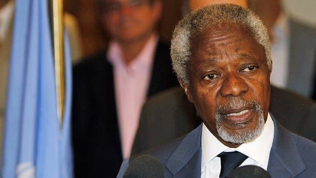 UN peace envoy Kofi Annan speaks to the media at a hotel in Damascus after returning from a meeting with Syrian President Bashar Assad on Monday.
