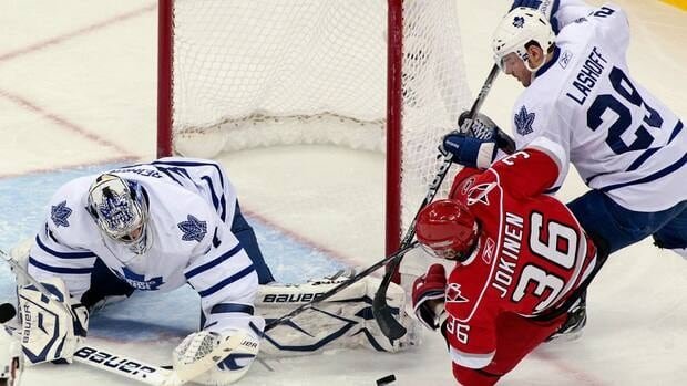 Matt Lashoff, right, spent the last two NHL seasons in Toronto, including 11 games with the Maple Leafs in 2010-11.