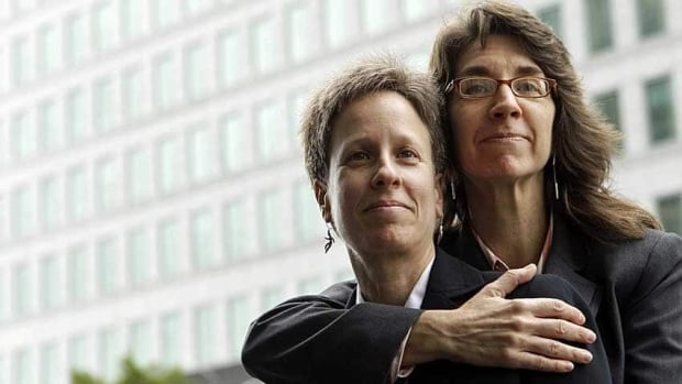 Karen Golinski, right, hugs her wife Amy Cunninghis as they pose for a photograph outside of a federal court building in San Francisco. The fight over gay marriage is shifting from the ballot box to the U.S. Supreme Court.