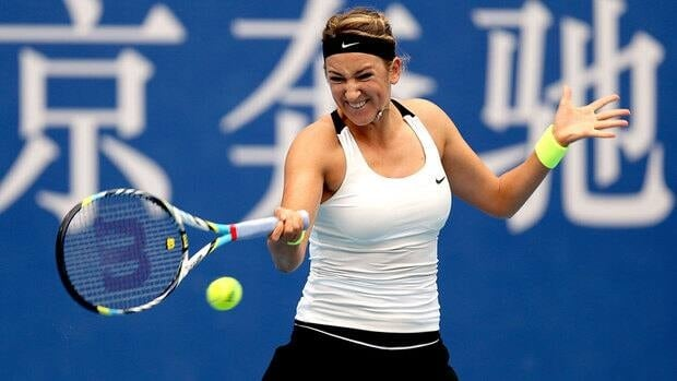 Victoria Azarenka plays a forehand during her win over Elena Vesnina.