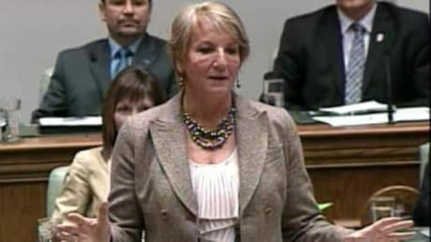 Premier Kathy Dunderdale answers questions in the legislature earlier this month.