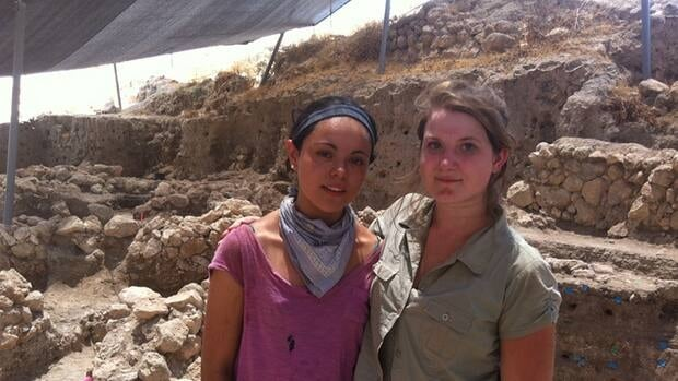Lisa Burnett, right, is one of several University of Manitoba students taking part in an archeological dig of Bronze Age settlements near Tel Aviv, Israel, that is being funded by the Canadian government.