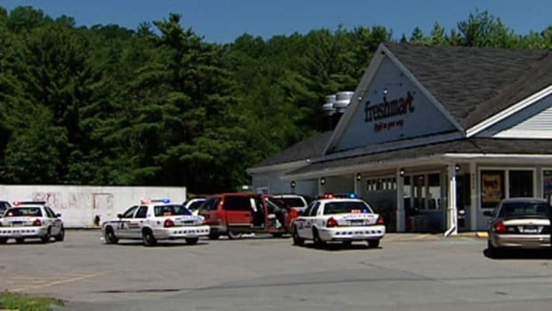 Wayne Eisnor, of Barss Corner, N.S., is accused of shooting Tina Eisnor twice as she sat in her car near this grocery store in New Germany in June 2010.