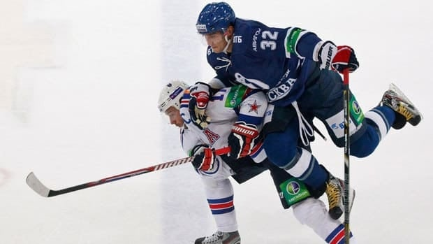 Dynamo Moscow's Alex Ovechkin challenges SKA St. Petersburg's Ilya Kovalchuk during their KHL game in Moscow on Sept. 23.