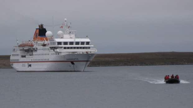 The MV Hanseatic is the first cruise ship to arrive in Cambridge Bay this year. The ship will travel the Northwest Passage to Greenland.