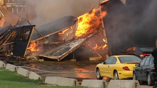 A large structure fire is currently out of control in Stony Plain.
