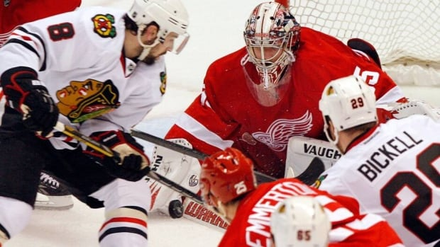 Blackhawks players have been trying to crowd the Red Wings net after managing just two goals in Games 2-4.