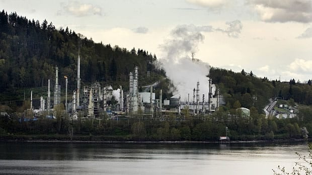 Kinder Morgan's existing pipeline from Strathcona County, Alta., to B.C. terminates in Burnaby, B.C. Here, one of its customers, the Chevron refinery, turns crude and synthetic oils, condensate and butanes into barrels of gasoline, diesel and jet fuels, asphalts, heating fuels, heavy fuel oils, butanes and propane.