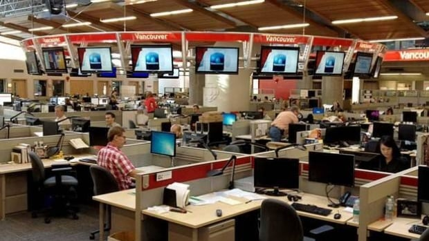The CBC newsroom in Vancouver produces news and current affairs programming for television, radio and online.