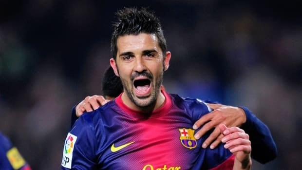 Barcelona's David Villa reacts after scoring against Cordoba at the Camp Nou stadium in Barcelona on Thursday.
