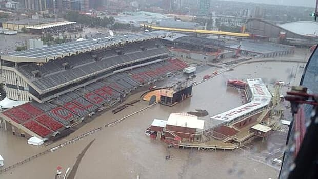 The Calgary Stampede grounds and Saddledome have been affected by the flooding.