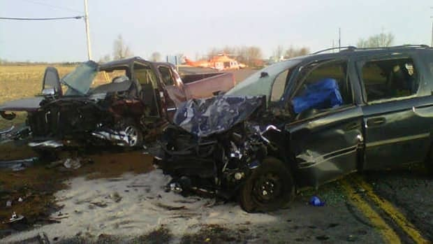 A pickup truck and minivan crashed head-on at high speeds Thursday morning in Winchester, Ont.