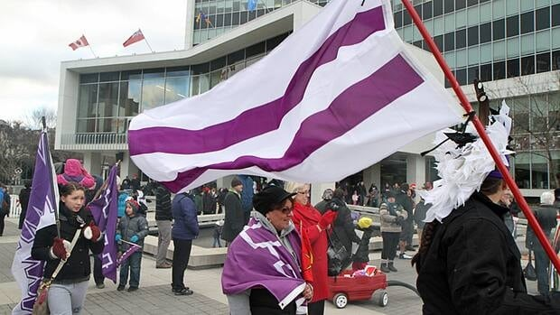 About 200 protesters participate in an Idle No More demonstration in December at Hamilton City Hall. (Adam Carter/CBC)